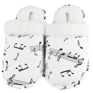Leisureland Women's Music Note Print Cotton Flannel Slippers