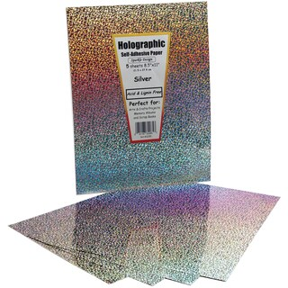 """Self-Adhesive Specialty Paper 8.5""""X11"""" 5/Pkg-Silver Holographic"""