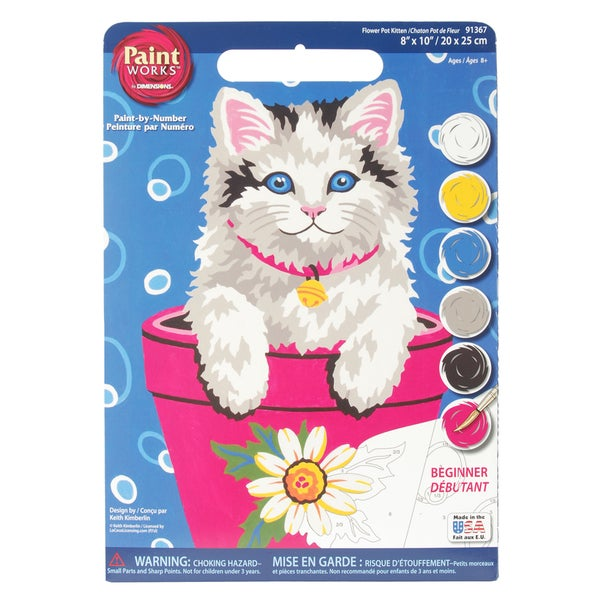 "Paint Works Paint By Number Kit 9""X12""-Flower Pot Kitten"