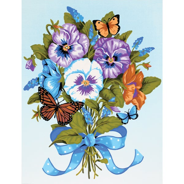 "Paint Works Paint By Number Kit 9""X12""-Pansy Bouquet"