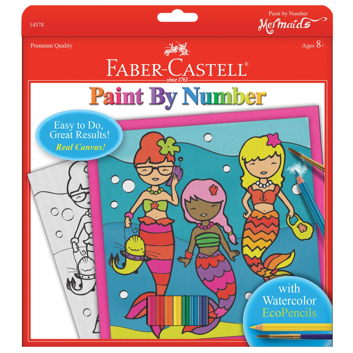 "Paint By Number Kit 9""X9""-Mermaids W/Watercolor Pencils (..."