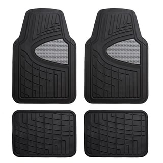FH Group Black Premium Rubber Full Set Car Floor Mats