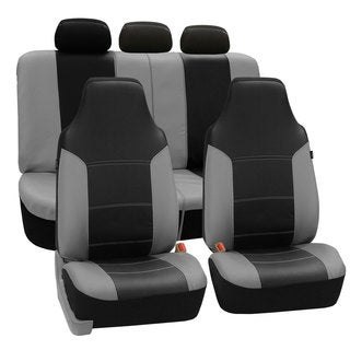 FH Group Grey/ Black Premium Leatherette Auto Seat Covers (Full Set)