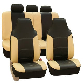 FH Group Beige/ Black Premium Leatherette Auto Seat Covers (Full Set)