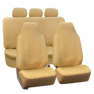FH Group Solid Beige Premium Leatherette Full Auto Seat Covers Set