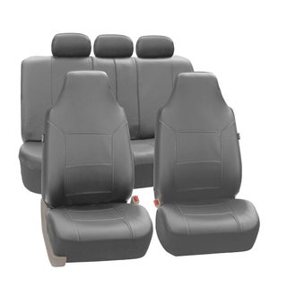 FH Group Grey Premium Leatherette Auto Seat Covers (Full Set)