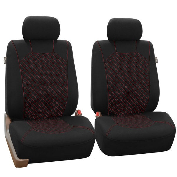 FH Group Red Fabric Front Bucket Seat Covers Set Of 2