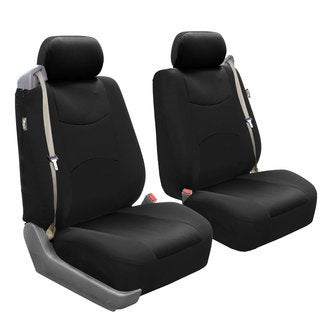 FH Group Black Flat Cloth Front Bucket Seat Covers (Set of 2)