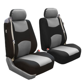 FH Group Grey/ Black Flat Cloth Front Bucket Seat Covers (Set of 2)