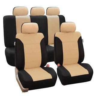 FH Group Beige/ Black Khaki Car Seat Covers (Full Set)