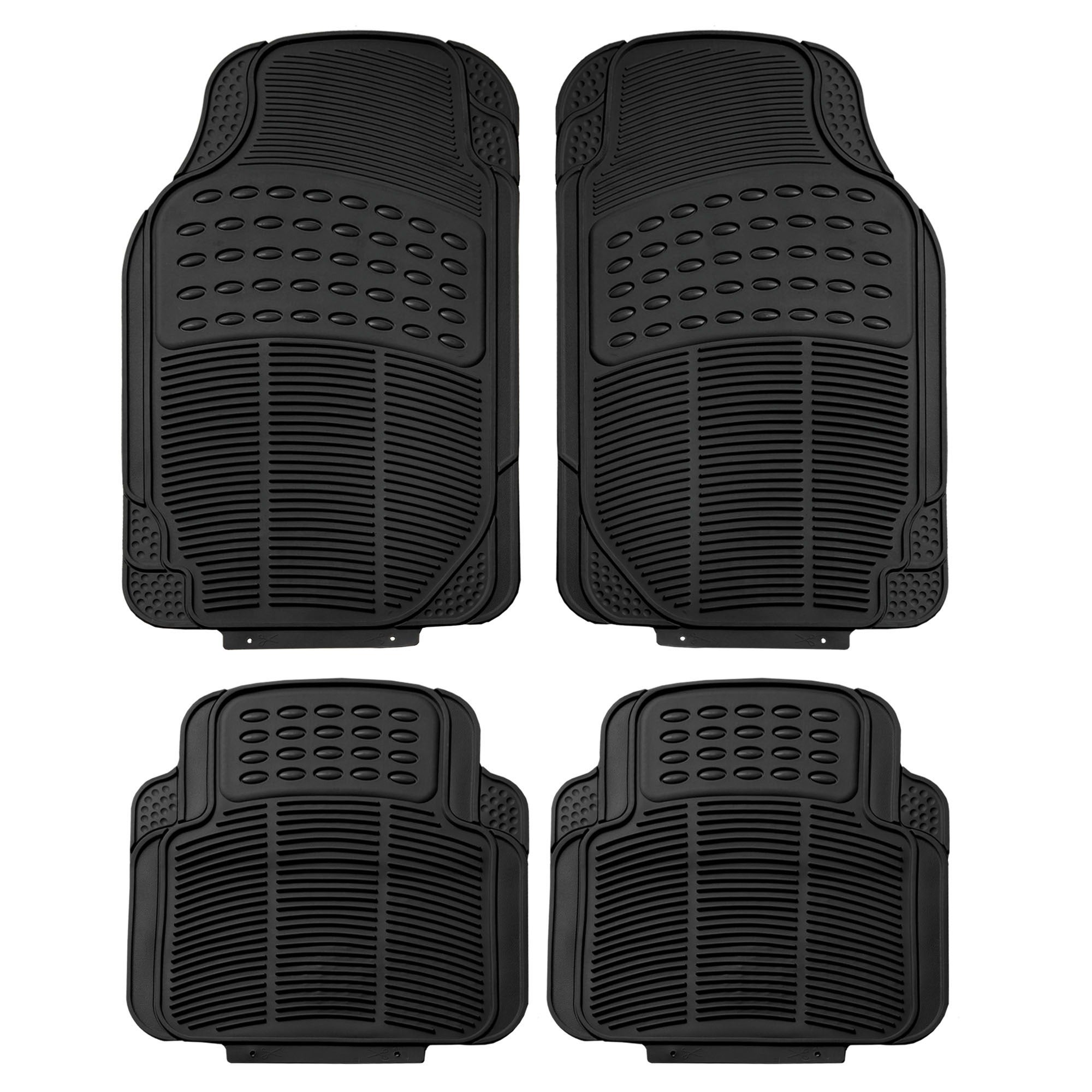 FH Group Black Trimmable Rubber Full Set Floor Mats (Black)