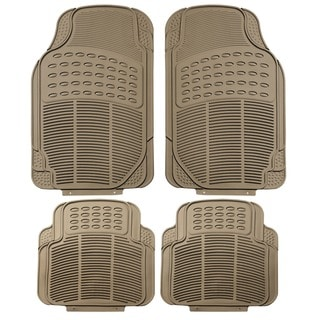 FH Group Beige Trimmable Rubber Full Set Floor Mats