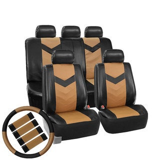 FH Group Tan/ Black Synthetic Leather Car Seat Covers (Full Set)