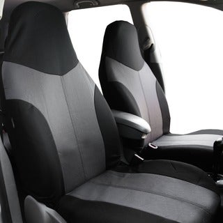 FH Group Grey/ Black Supreme Twill Fabric Auto Seat Covers (Full Set)