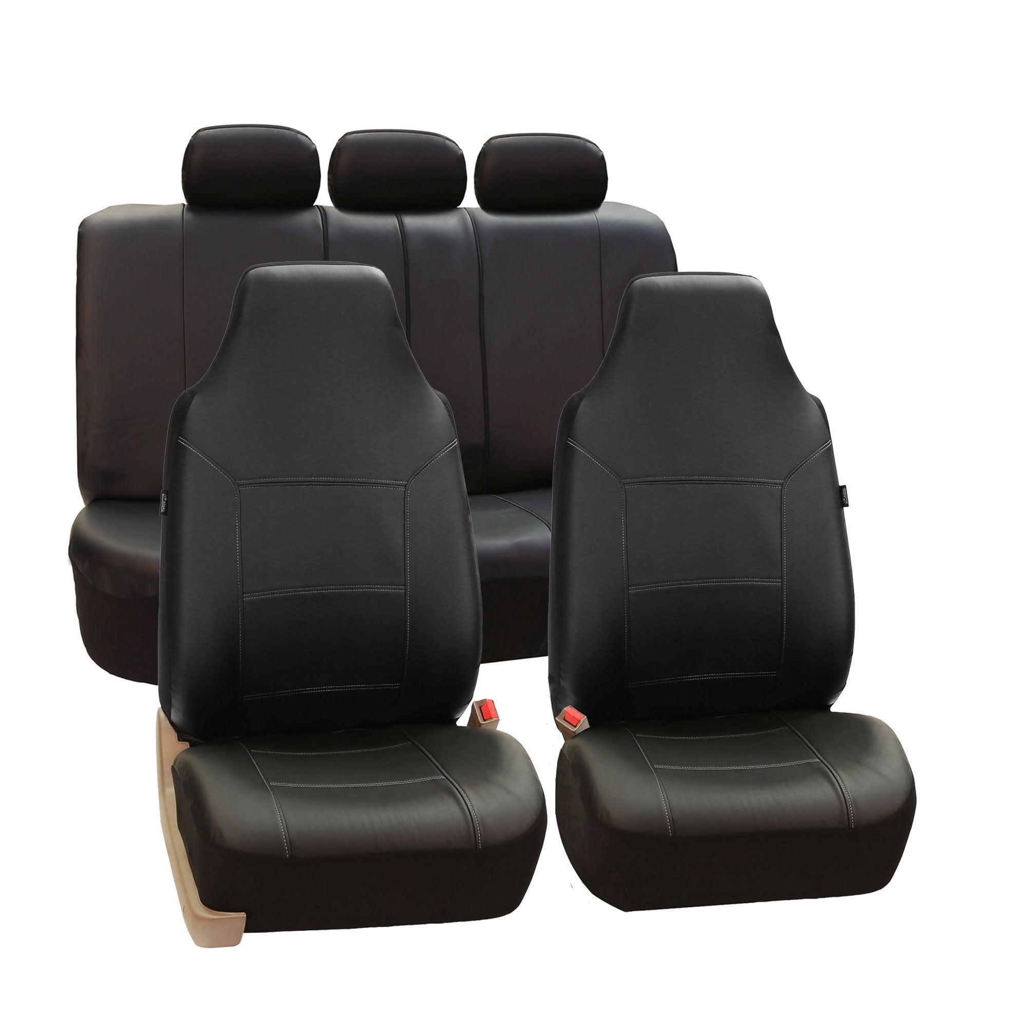 FH Group Black Premium Leatherette Auto Seat Covers (Full...