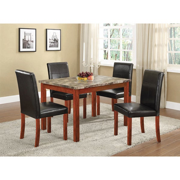 K And B Walnut Wood And Leatherette Parson Chairs (Set Of 4)