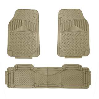 FH Group Beige Rubber Full Set Auto Floor Mats