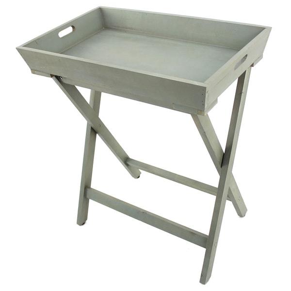 Grey Wood Tray Table