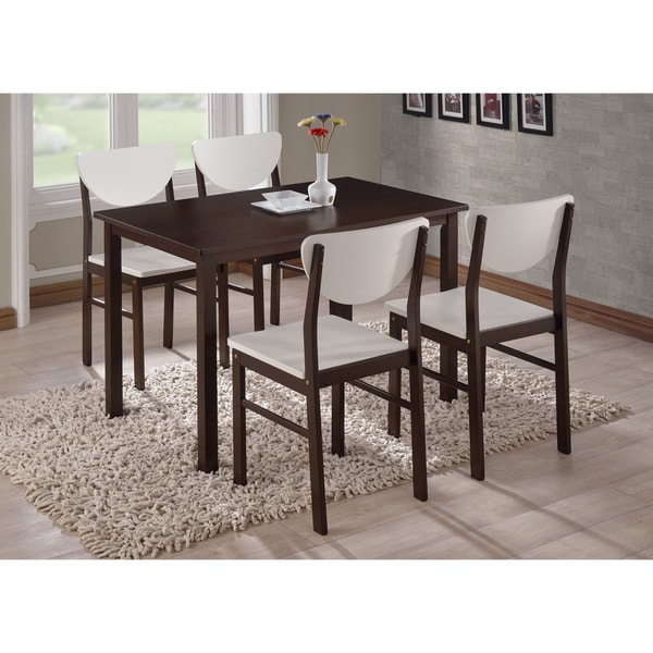 K and B Walnut Wood Dining Chairs (Set of 4)