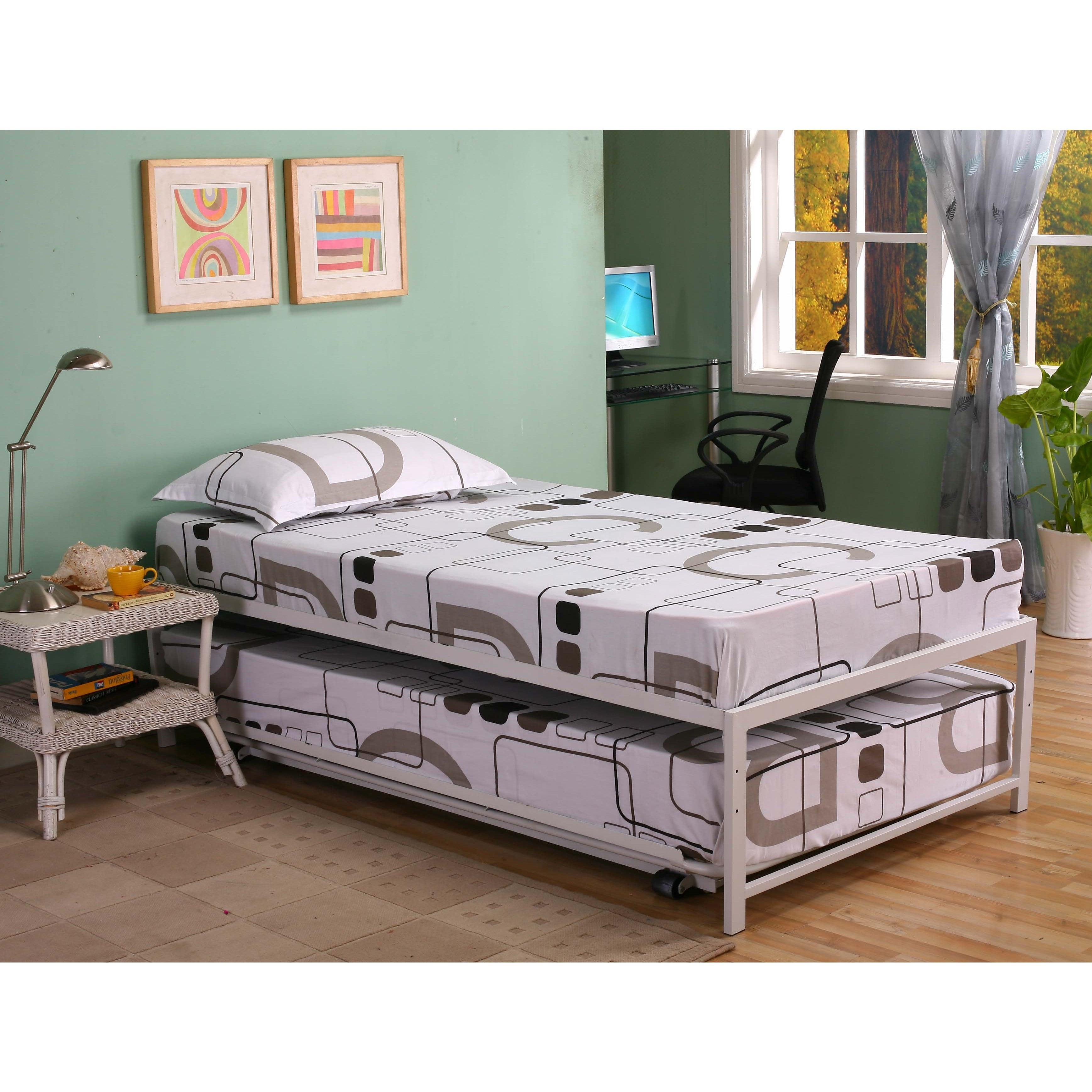 Picture of: K B Hi Riser Twin Bed With Pop Up Trundle Overstock 9659305