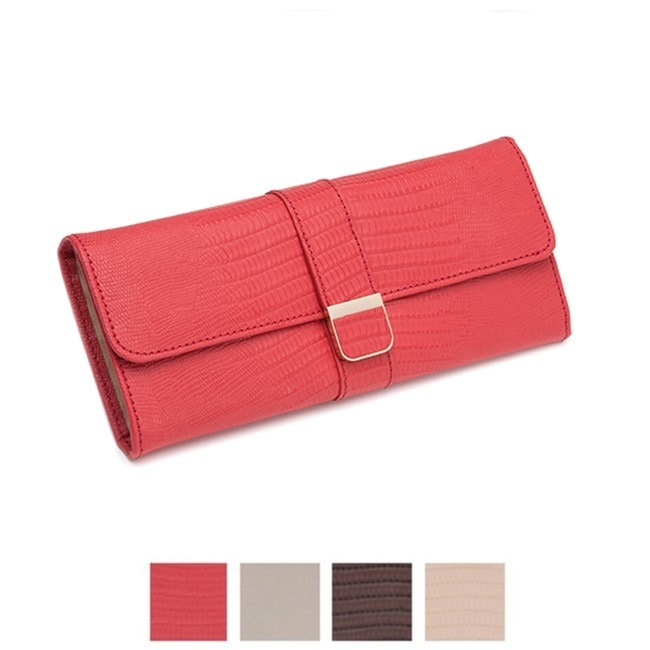 Wolf Palermo Leather Travel Jewelry Roll (Red)
