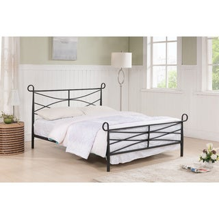 K & B Textured Black Steel Bed