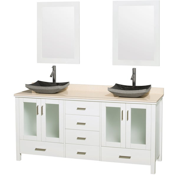 Wyndham Collection Lucy White Ivory Marble Double Bathroom Vanity and 24-inch Mirrors