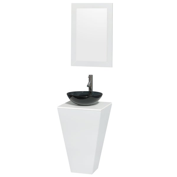 Shop wyndham collection esprit glossy white stone top - 20 inch bathroom vanity and sink ...