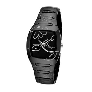 Rougois Women's Bloom Series Black Ceramic Silver Accents Watch