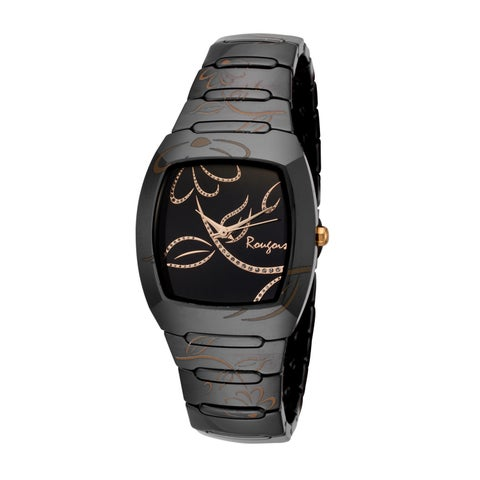 Rougois Women's Bloom Series Black Ceramic Rose Goldtone Accents Watch