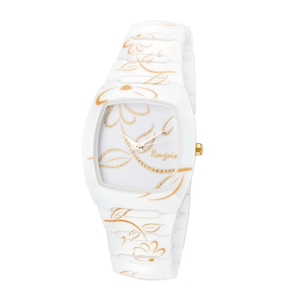 Rougois Women's Bloom Series White Ceramic Gold Accent Watch
