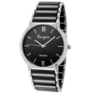 Rougois Men's Luxe Series Black Ceramic Stainless Steel Crystal Accent Watch
