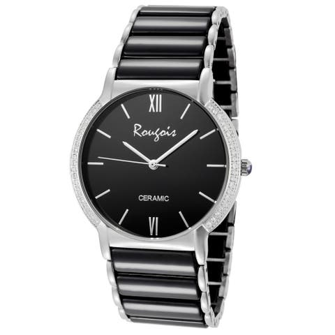 Rougois Luxe Series Black Ceramic Crystal Accent Watch