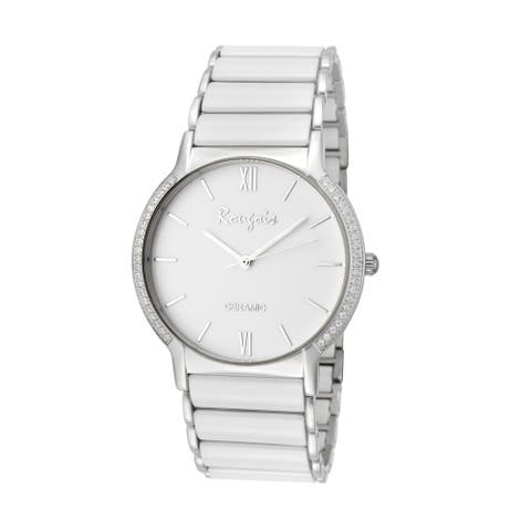 Rougois Men's Luxe Series White Ceramic Crystal Paved Bezel Watch