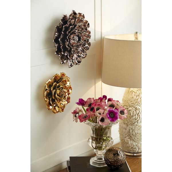 Shop Metallic Large Ceramic Wall Flower Free Shipping