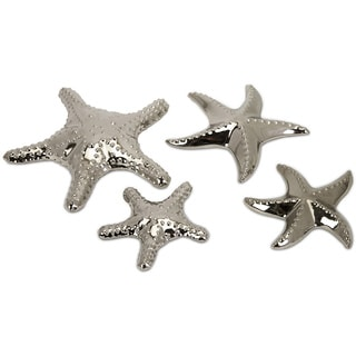 Imax Cortland Silvertone Ceramic Star Fish (Set of 4)
