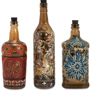 Reclaimed Hand-Painted Bottles (Set of 3)
