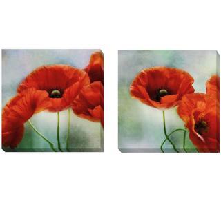 Irene Weisz 'Artful Poppies I and II' 2-piece Canvas Set