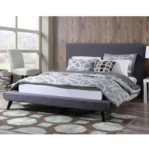Nixon Mid Century Grey Linen Bed Free Shipping Today