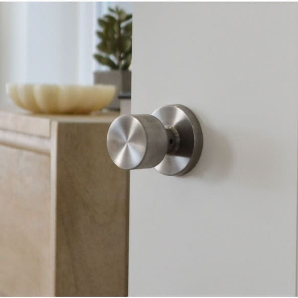 Sure Loc Modern Round Door Knob, Satin Stainless