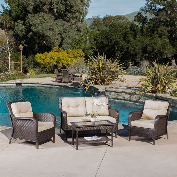 Elegant Savona 4 Piece Outdoor Wicker Set By Christopher Knight Home   Free  Shipping Today   Overstock.com   16841668 Part 14