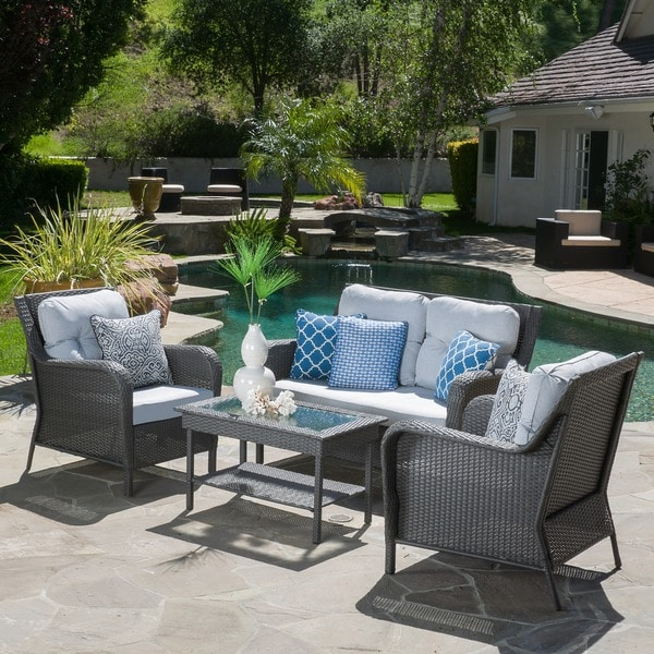 Savona 4 Piece Outdoor Wicker Set By Christopher Knight Home   Free  Shipping Today   Overstock.com   16841668