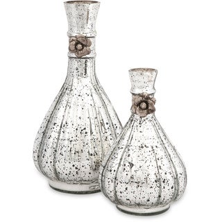 Silver Orchid Lancaster Glass Bottles (Set of 2)