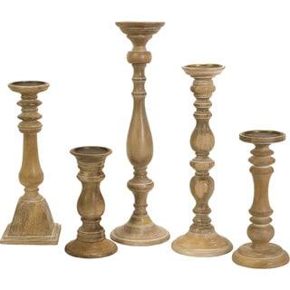 Mason Natural Wash Wood Candleholders (Set of 5)