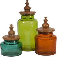 Saburo Glass and Wood Lid Canisters (Set of 3)