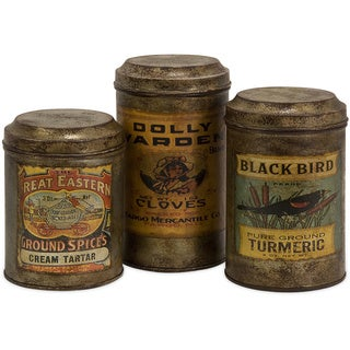 Addie Vintage Label Metal Canisters (Set of 3)