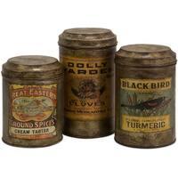Addie Vintage Label Metal Canisters (Set of 3)