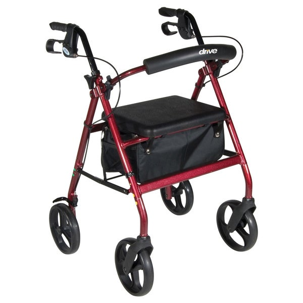 Drive Medical Red Aluminum Rollator with Removable Wheels