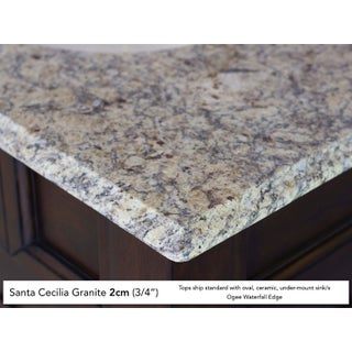 "Brookfield 60"" Warm Cherry Single Vanity (Option: 2cm santa cecilia granite top - Oval)"