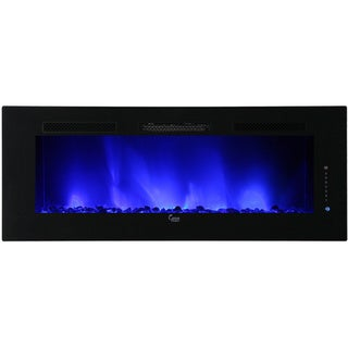 Caesar Luxury Linear Wall Mount Recess Freestanding 74-inch Electric Fireplace with Multicolor Flame